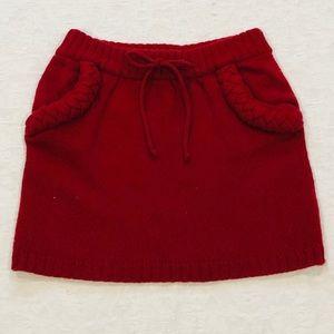 Red Wool Knit Mini Skirt**US 0